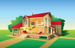 削减房子视图 库存例证