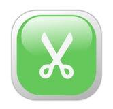 削减玻璃状绿色图标正方形 库存照片