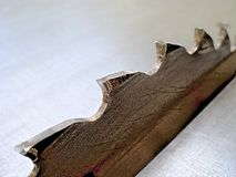 削减的木工具细节圆锯木厂 免版税图库摄影