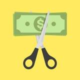 削减金融法案的剪刀 免版税库存图片