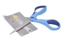 削减更多没有的银行信用卡赊帐剪显示疲倦使用 库存照片