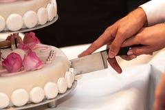 削减weddingcake的新娘和新郎 免版税图库摄影