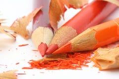 削尖3支色的铅笔 库存图片