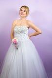 前婚礼礼服结婚照的新娘 免版税库存照片