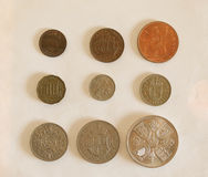 前小数GBP硬币 库存图片
