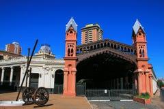 前火车站在亚松森,巴拉圭 库存图片