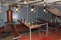 前甲板,巡洋舰极光 组织乘船在期间在第一次世界大战前 圣彼德堡 免版税库存图片