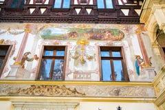 前皇家Peles城堡的部份看法,锡纳亚,罗马尼亚 免版税库存照片