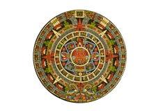 前神圣阿兹台克日历的哥伦比亚人 库存照片