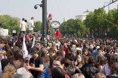 前议会学生碰撞维也纳 免版税库存图片