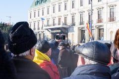 前进和庆祝在大街上的人们 库存图片