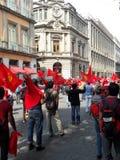 前进在墨西哥城的墨西哥的共产党的示范 免版税库存图片