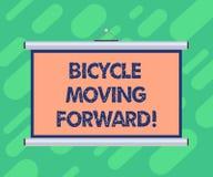 前进概念性手文字陈列的自行车 陈列企业的照片保持您的平衡,您必须保持 库存例证