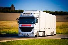 前重型卡车视图 免版税库存图片