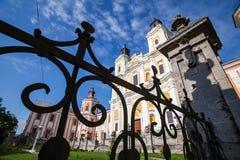 前阴险的人修道院和温床,克列梅涅茨,乌克兰 免版税图库摄影