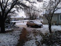 前院在一个冬日 库存照片