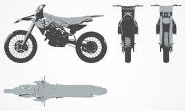 前面、上面和边摩托车投射 免版税库存图片