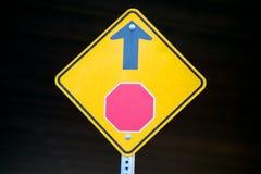 前面停车牌标志 库存图片