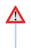 前面危险查出其他杆路标警告 免版税库存照片