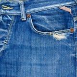 前面口袋牛仔布牛仔裤构成 免版税库存图片