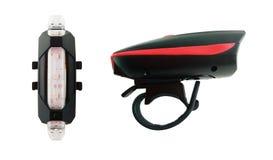 前面和尾巴的自行车手电 免版税库存图片