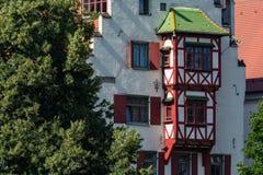 前面村庄议院木制框架在乌尔姆德国 免版税库存图片