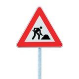 前面查出的杆路标警告工作 免版税库存照片