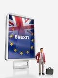 """前面的微型人†""""人与英国和欧盟旗子的一个广告牌为2016年公民投票结合了 免版税库存照片"""