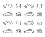 前面的汽车和侧视图线标志,自动标志 车概述在白色背景隔绝的传染媒介象 向量例证