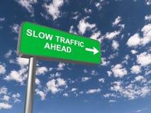 前面缓慢的交通标志 免版税库存图片
