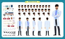 前面,边,后面看法给字符赋予生命 医生字符创作设置有各种各样的看法,面孔情感,发型,姿势 皇族释放例证