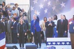 前总统比尔・克林顿讲话在戈尔/利伯曼的一次总统集会11月2日2000年在鲍德温小山, Californ 免版税库存图片