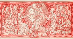 前Judgmet石版印刷在未知的艺术家的Missale Romanum有最初的F M 从结尾的S的19 分 图库摄影