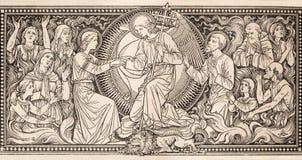 前Judgmet石版印刷在未知的艺术家的Missale Romanum有最初的F M 从结尾的S的19 分 库存照片