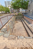 前Kitanosho城堡被挖掘的站点在福井,日本 图库摄影