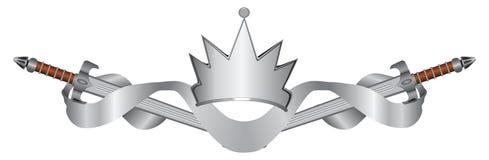 剑和冠有纹章学丝带的 库存照片