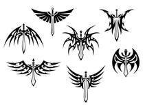 剑和匕首部族纹身花刺 免版税库存照片