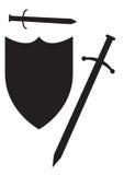 剑和盾剪影 库存图片