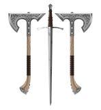 剑拙劣的装饰轴 免版税库存图片