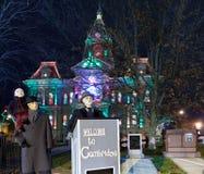 剑桥俄亥俄圣诞节照明设备 库存照片