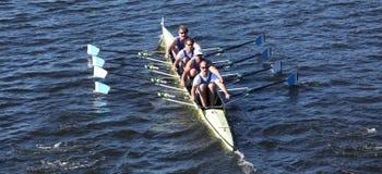剑桥小船俱乐部在主任Challe赛跑 库存照片