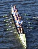 剑桥小船俱乐部在主任Challenge在查尔斯赛船会头的Quad Men赛跑  免版税库存照片