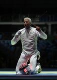 击剑者英里Chamley华森美国在里约2016年奥运会的人的队箔竞争 免版税库存图片