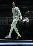 击剑者英里Chamley华森美国在里约2016年奥运会的人的队箔竞争 免版税图库摄影