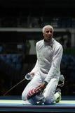 击剑者英里Chamley华森美国在里约2016年奥运会的人` s队箔竞争在Carioca竞技场3 库存照片
