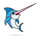 剑鱼逗人喜爱的动画片 图库摄影