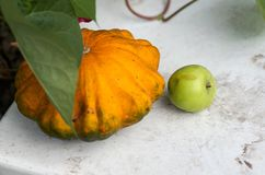 剥去南瓜和秋天果子在木桌上 库存图片