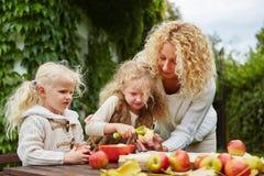 剥苹果的母亲和孩子 库存照片
