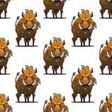 剧烈恼怒的野公猪或warthog无缝的样式 免版税库存图片