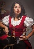 剧烈的女性海盗场面 库存照片
